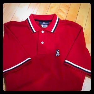 Psycho Bunny red polo shirt